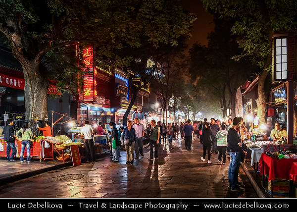 Asia - China - Central China - Shaanxi Province - Xian - Xi'an - 西安 - Xī'ān - Ancient capital of China - Old Town - Traditional Local Food Market around Xi'an Drum Tower