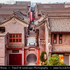 Asia - China - Central China - Shaanxi Province - Xian - Xi'an - 西安 - Xī'ān - Ancient capital of China - Old Town - Fortifications of Xi'an -  Xi'an City Wall - One of the oldest, largest & best preserved Chinese city walls, built as military defense system - Iconic landmark dividing city into inner part & outer part - Rooftops of traditional houses viewed from the wall