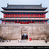 Asia - China - Central China - Shaanxi Province - Xian - Xi'an - 西安 - Xī'ān - Ancient capital of China - Old Town - Fortifications of Xi'an -  Xi'an City Wall - One of the oldest, largest & best preserved Chinese city walls, built as military defense system - Iconic landmark dividing city into inner part & outer part - Yongningmen - North Gate