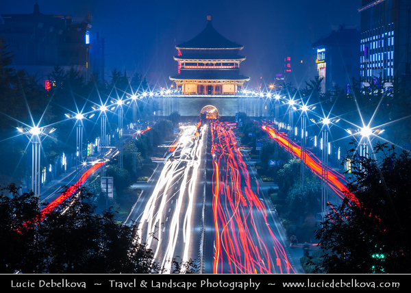 Asia - China - Central China - Shaanxi Province - Xian - Xi'an - 西安 - Xī'ān - Ancient capital of China - Old Town - Bell Tower of Xi'an - Symbol of Xi'an & one of grandest of its kind in China - Historical monument built in 1384 during the early Ming Dynasty