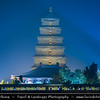 Asia - China - Central China - Shaanxi Province - Xian - Xi'an - 西安 - Xī'ān - Ancient capital of China - Old Town - Giant Wild Goose Pagoda - World Cultural Heritage Site on Silk Road - Very famous ancient Buddhist pagoda located in Daci'en Temple, built in 652 during Tang dynasty - Night
