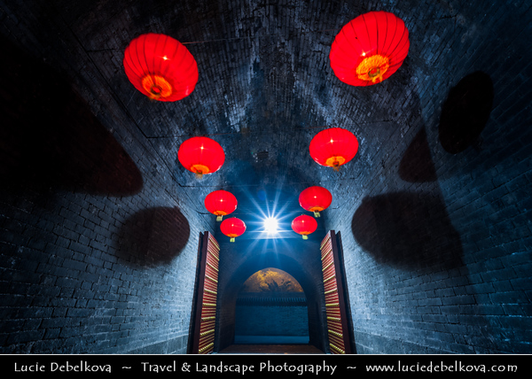 Asia - China - Central China - Shaanxi Province - Xian - Xi'an - 西安 - Xī'ān - Ancient capital of China - Old Town - Fortifications of Xi'an -  Xi'an City Wall - One of the oldest, largest & best preserved Chinese city walls, built as military defense system - Iconic landmark dividing city into inner part & outer part - Yongningmen - North Gate Lit by Traditional Chinese Red Laterns