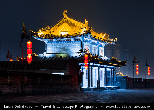 Asia - China - Central China - Shaanxi Province - Xian - Xi'an - 西安 - Xī'ān - Ancient capital of China - Old Town - Fortifications of Xi'an -  Xi'an City Wall - One of the oldest, largest & best preserved Chinese city walls, built as military defense system - Iconic landmark dividing city into inner part & outer part - Dusk - Twilight - Blue Hour - Night