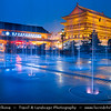 Asia - China - Central China - Shaanxi Province - Xian - Xi'an - 西安 - Xī'ān - Ancient capital of China - Old Town - Xi'an Drum Tower - City symbol towering above the town, erected in 1380 during early Ming Dynasty - Dusk - Twilight - Blue Hour - Night