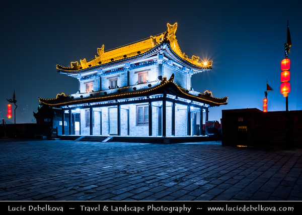 Asia - China - Central China - Shaanxi Province - Xian - Xi'an - 西安 - Xī'ān - Ancient capital of China - Old Town - Fortifications of Xi'an -  Xi'an City Wall - One of the oldest, largest & best preserved Chinese city walls, built as military defense system - Iconic landmark dividing city into inner part & outer part