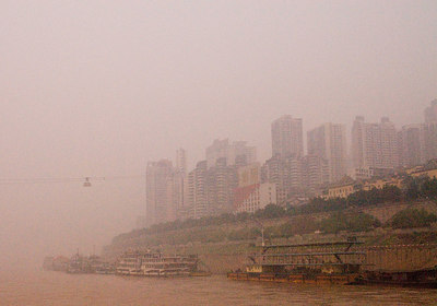 Most of our time in China the air quality was very poor.  This is the shoreline in Chongquin