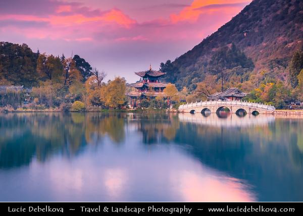 Asia - China - Southwest China - Yunnan Province -  Lijiang - 丽江 -  Likiang - Jade Spring Park - Yu Quan Gong Yuan - Black Dragon Pool - Famous pond with iconic Suochi Bridge & Deyue Pavilion