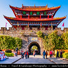 Asia - China - Southwest China - Yunnan Province - Dali - Historical town with ancient wooden houses & cobbled streets - One of Yunnan's most popular tourist destinations - Old Town - Dali Ancient City East Gate - Historical gate at city walls