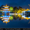 Asia - China - Southwest China - Yunnan Province -  Lijiang - 丽江 -  Likiang - Jade Spring Park - Yu Quan Gong Yuan - Black Dragon Pool - Famous pond with iconic Suochi Bridge & Deyue Pavilion - Dusk - Twilight - Blue Hour - Night