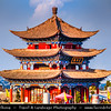 Asia - China - Southwest China - Yunnan Province - Dali - Historical town with ancient wooden houses & cobbled streets - One of Yunnan's most popular tourist destinations - Old Town - Wuhua Tower - Symbolic architecture with five storeys offering panoramic views