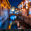 Asia - China - Southwest China - Yunnan Province -  Lijiang - 丽江- Likiang - Old Town - UNESCO Heritage Site - Ancient town with cobbled streets, rickety wooden buildings & gushing canals - Famous tourist fairyland destination in Yunnan Province - Twilight - Dusk - Blue Hour - Night