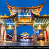 Asia - China - Southwest China - Yunnan Province - Kunming - 昆明市 - Yunnan's Capital - Historical Old Town - Jinma Biji Archway - Golden Horse-Green Rooster Archway - Traditional piece of architecture & icon of Kunming city - Twilight - Blue Hour - Night
