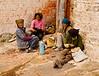 Tibetan maintenance workers on tea break at Potola Palace