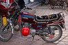 Well-upholstered motorcycle, Lhasa commercial district