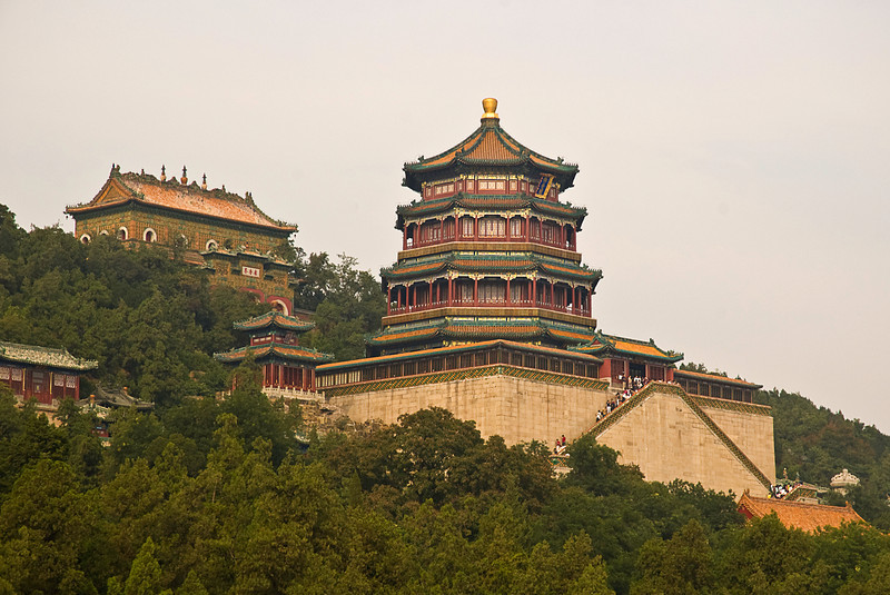 Longevity Hill, Summer Palace; octagonal Tower of Fragance of the Buddha on the right, Sea of Wisdom of Many Treasures to the left rear.