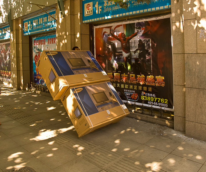 Hand delivery, downtown Dalian