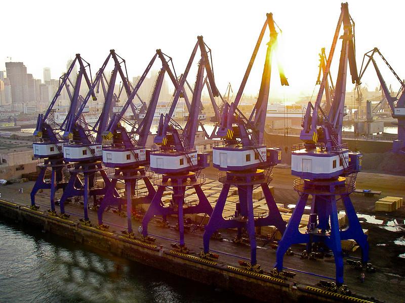 Non-avain cranes in Dalain Harbor, China