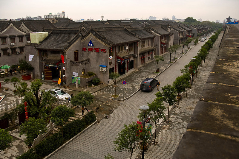 Urban renewal project, downtown Xian seen from city wall