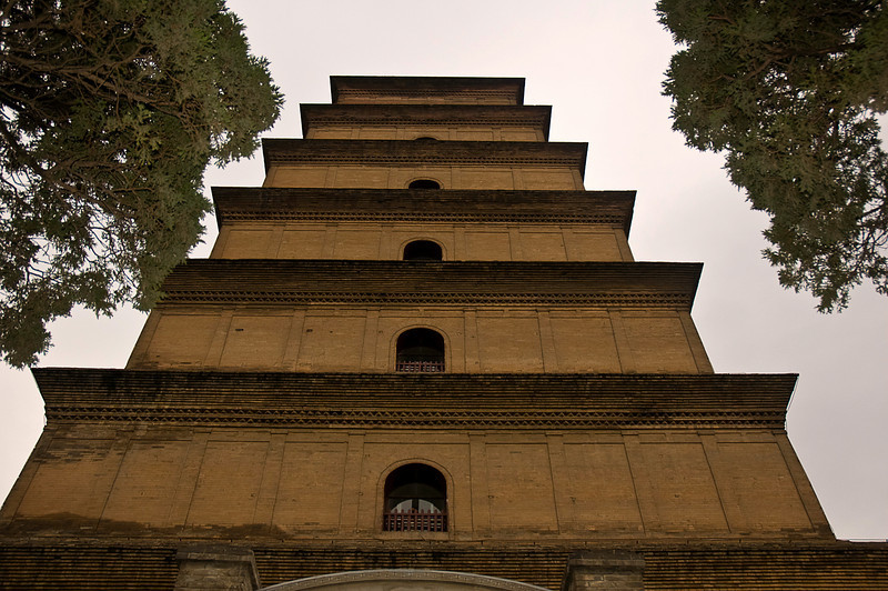 Wild Goose Pagoda in Xian was originally built in the seventh century as a repository for Buddhist relics, statuary and texts brought from India by Xuanzang after a 17 year journey on the Silk Road. Seven stories tall as you can see; I don't remember how many steps although I counted them going up and coming down for some reason.