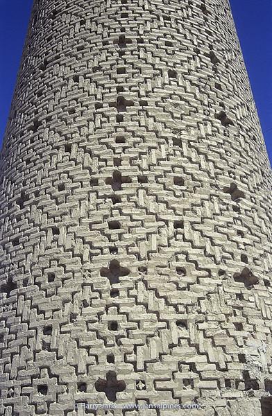 minaret in Damghan, Masjid-I Tarik Khaneh, 11th century
