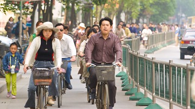 Rush hour in Nanjing. Bicycles are still a popular form of transportation in the city.