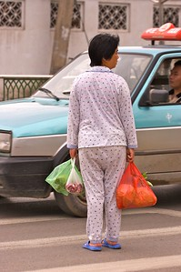 In China, it's not unusual to go out in your pajamas to go shopping. No one even gave her a second look.