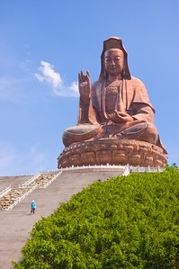 The 62 m. tall statue of Guan Yin at Mount Xiqiao with a person to give it some scale.