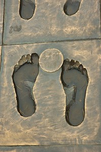 Bronze cast footprints of the survivors of the Nanjing Massacre