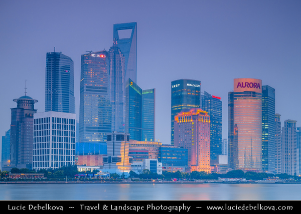 Asia - China - Chinese Eastern Coast - Shanghai - 上海 - Shànghǎi - Global financial center - City Panorama with Skyscraper & High Rise Buildings along Huangpu River - Dusk - Twilight - Blue Hour - Night