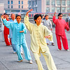 Asia - China - Chinese Eastern coast - Shanghai - 上海 - Shànghǎi - The Bund - Iconic Shanghai's waterfront promenade along Huangpu River - People practice Tai Chi Ancient martial art - Early morning exercise in traditional clothing