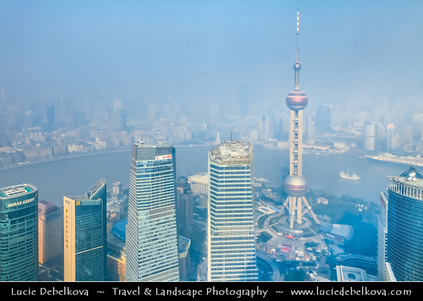Asia - China - Chinese Eastern Coast - Shanghai - 上海 - Shànghǎi - Global financial center - City Panorama with Oriental Pearl Tower - 东方明珠塔 - TV tower at tip of Lujiazui in the Pudong district by side of Huangpu River