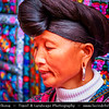 """Asia - China - Southern China - Guanxi Province - Guilin - Huangluo Yao Village - Famous """"World's Longest Hair Village"""" - Dance performance Chinese Red Yao Hill Tribe ladies in traditional ethnic costumes with super long hairs reaching 1.8 meters"""