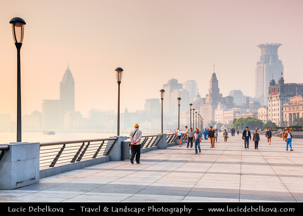 Asia - China - Chinese Eastern Coast - Shanghai - 上海 - Shànghǎi - Global financial center - The Bund - City Panorama with Skyscraper & High Rise Buildings along Huangpu River