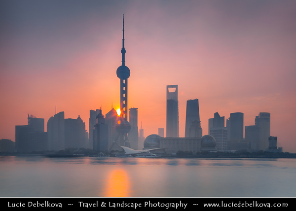 Asia - China - Chinese Eastern Coast - Shanghai - 上海 - Shànghǎi - Global financial center located in Yangtze River Delta in East China - City Panorama with Oriental Pearl Tower - 东方明珠塔 - TV tower at tip of Lujiazui in the Pudong district by side of Huangpu River opposite of The Bund