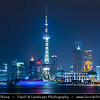 Asia - China - Chinese Eastern Coast - Shanghai - 上海 - Shànghǎi - Global financial center located in Yangtze River Delta in East China - City Panorama with Oriental Pearl Tower - 东方明珠塔 - TV tower at tip of Lujiazui in Pudong district by side of Huangpu River opposite of The Bund - Night
