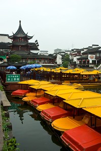 Small paddle boats available to rent on the Qinhuai River by Fuzi Miao