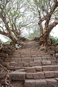 Ancient steps in the Pre-Angkoran ruins of Wat Phu Champasack. Laos.