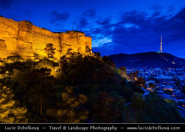 Georgia - Tbilisi - თბილისი - Capital City - Narikhala - Narikala Fortress - ნარიყალა - Ancient fortress overlooking old town during Dusk - Twilight - Blue Hour - Night