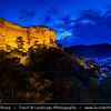 Georgia - Tbilisi - თბილისი - Capital City - Narikhala - Narikala Fortress - ნარიყალა - Ancient fortress overlooking old town during Dusk - Twilight - Blue Hour - Night