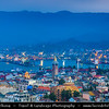 Georgia - Batumi - ბათუმი - Seaside city on the Black Sea coast & capital of Adjara (autonomous republic in southwest Georgia) - City Skyline during Dusk - Twilight - Blue Hour - Evening - Night