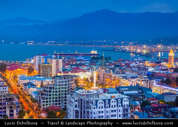 Georgia - Batumi - ბათუმი - Seaside city on the Black Sea coast & capital of Adjara (autonomous republic in southwest Georgia) - City Skyline during Dusk - Twilight - Blue Hour - Evening - Night