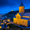 Georgia - Tbilisi - თბილისი - Capital City - Lovely Church inside Narikhala/Narikala Fortress during Dusk - Twilight - Blue Hour - Night