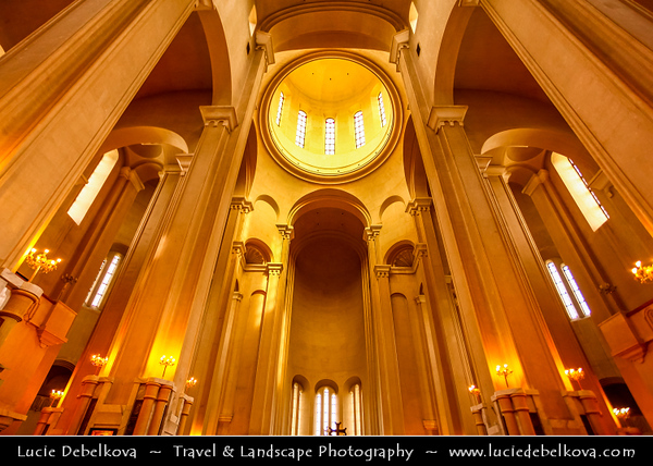 Georgia - Tbilisi - თბილისი - Capital City - Architecture & Life inside of Tsminda Sameba (Holy Trinity) Cathedral - High on Elia Hill above Avlabari rises the biggest symbol of Georgia's post-Soviet religious revival - An unmissable landmark by night and day consecrated in 2004
