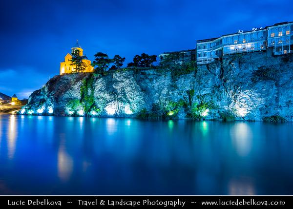 Georgia - Tbilisi - თბილისი - Capital City - Metekhi Church on Elevated Cliff & Mt'k'vari (Kura) River during Dusk - Twilight - Blue Hour - Night
