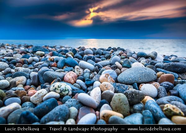Georgia - Batumi - ბათუმი - Seaside city on the Black Sea coast & capital of Adjara (autonomous republic in southwest Georgia) - Sunset on the pebble beach