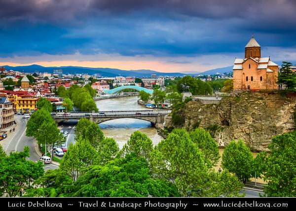 Georgia - Tbilisi - თბილისი - Capital City - City Skyline & Metekhi Church on Elevated Cliff & Mt'k'vari (Kura) River