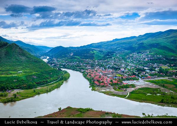 Georgia - Mtskheta - მცხეთა - One of the oldest cities of the country - UNESCO World Heritage Site - Panoramic view of Mtskheta & the confluence of the Aragvi and Kura (Mt'k'vari) rivers