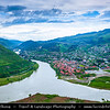 Georgia - Mtskheta - მცხეთა - One of the oldest cities of the country - UNESCO World Heritage Site - Panoramic view of Mtskheta & the confluence of the Aragvi and Kura (Mt'k'vari) rivers