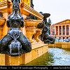 Georgia - Batumi - ბათუმი - Seaside city on the Black Sea coast & capital of Adjara (autonomous republic in southwest Georgia) - Unusual Fountain in front of the State Theatre with Naked Women Statues & water coming out of their breast symbolizing four mermaids whose breasts spurt several jets of water