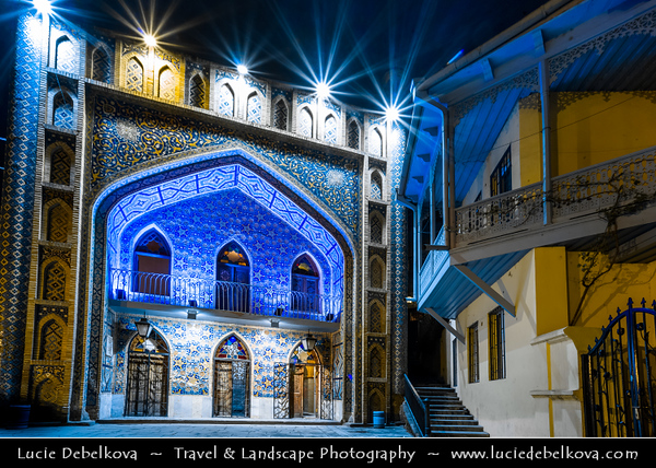 Georgia - Tbilisi - თბილისი - Capital City - Bath House - Orbeliani Bathhouse with tiles facade in islamic styled Sulfur Baths at Night